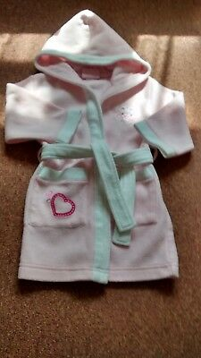 3-6 Months Baby Girls Hooded Pink Dressing Gown From Molly Mouse