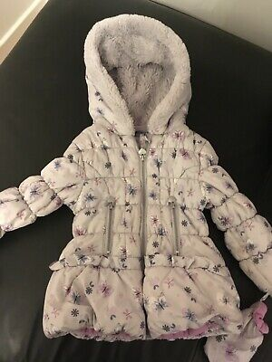 Young Girls Grey Lilac Hooded Padded Jacket Age 3 - 4