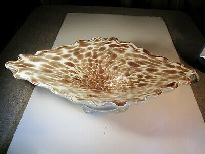 "HUGE VTG Murano Italy 20"" Long Gold Lutz Mica Over White Footed Centerpiece Bowl"