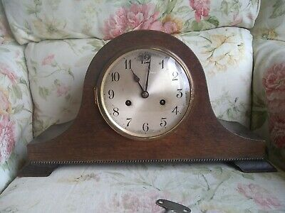 """English Wooden  Mantle Clock 17.5"""" x 9.5"""" high and 6"""" deep"""