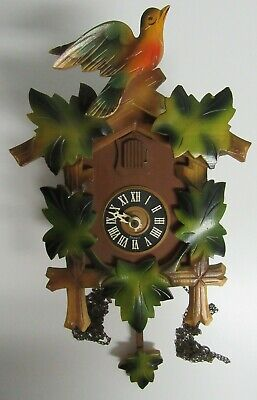 Regula Wooden Maple Leaf Bird Cuckoo Style Clock with Pedulum Made In Germany