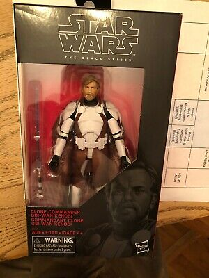 "STAR WARS CLONE COMMANDER OBI WAN KENOBI BLACK SERIES EXCLUSIVE 6"" In hand"
