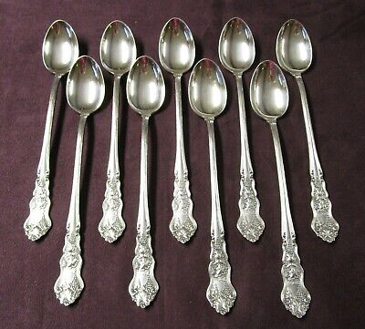 MOSELLE 9 Iced Tea Spoons 1906 Silverplate Fabulous No Monograms RARE! FREE SHIP