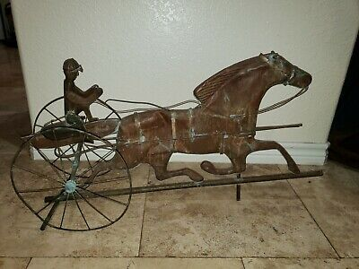 Antique Copper Weathervane with Sulky, Rider and Horse