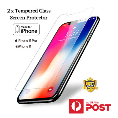 2x iPhone 11 Pro Xs Max Xr Anti-Scratches Screen Tempered Glass Protection