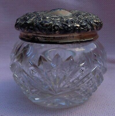 Vintage Antique Victorian Sterling Silver Unger Vanity Powder Dresser Jar Box