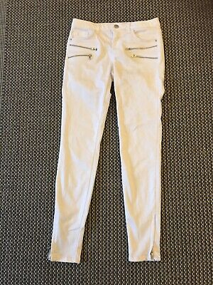 Ladies White Trousers Zara Jeans Denim Z1975 Size 36
