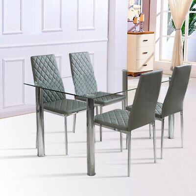 Glass Top Dining Table and 4/6 Chair Dinner Set Restaurant Kitchen Furniture NEW