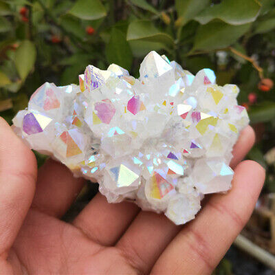 Crystal Cluster Natural Aura Angel Quartz Druzy Plating Gemstone Healing Mineral