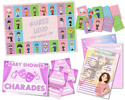 Baby Shower Game Pack - Who Knows Mummy Best - Charades - Guess Who /Pink - Girl