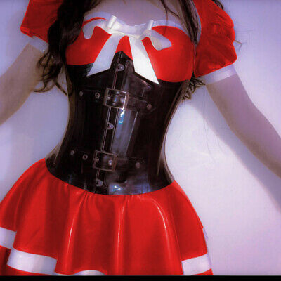 Handmade 100% Latex Gummi Dress Rubber Kleid Rot Ruffle Cute Mini Skirt Rock