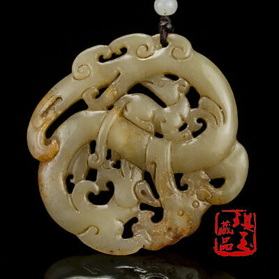 China antique Natural hand carved Nephrite hetian jade dragon mouse Pendant 52g
