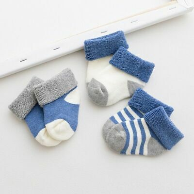 3 Pairs/Lot Newborn Baby Toddler Girl Boy Thick Warm Socks For 0-24 Months Baby