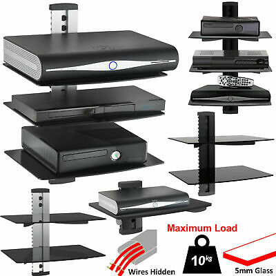 1 2 3 Tier Black Floating DVD Player Glass Shelf Game Console Sky Box PS4 XBOX