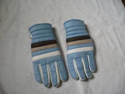 Brand New Pair Of Vintage Ladies Blue Padded Winter Gloves Warm Fleecy Lining