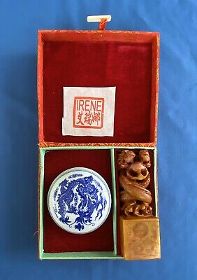 Vintage IRENE Name Carved Soapstone Dragon Chinese Seal Stamp Chop Box Ink