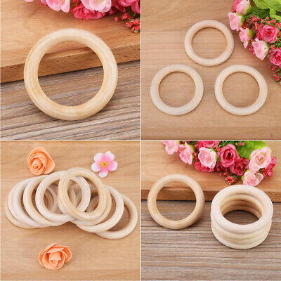 10pcs Baby Newborn Natural Round Wood Teething Ring Wooden Teether Toy DIY Gifts