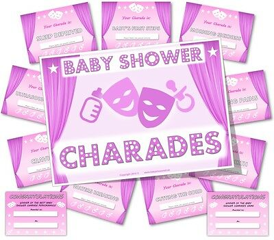 Baby Shower Party Games     BABY SHOWER CHARADES   -  Girl / Pink theme