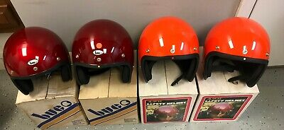 (4) Vintage BUCO ALL SPORT Classic Motorcycle Helmets Candy Red Orange NIB NOS
