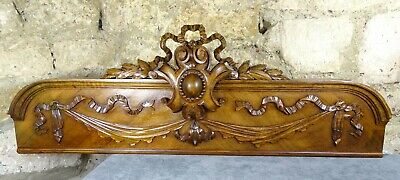 "41"" French Antique Pediment - Crest In Walnut Wood Salvage Ribbon Louis XVI"