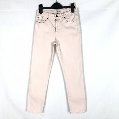 WHITE STUFF Women's Pale Pink Straight Cropped Stretch Capri Jeans Size 8 UK VGC