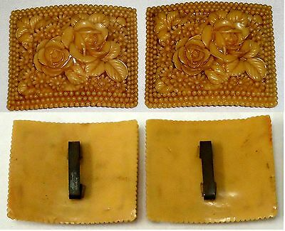 Two Antique Plastic Shoe Buckles ~ floral 2x2 inch