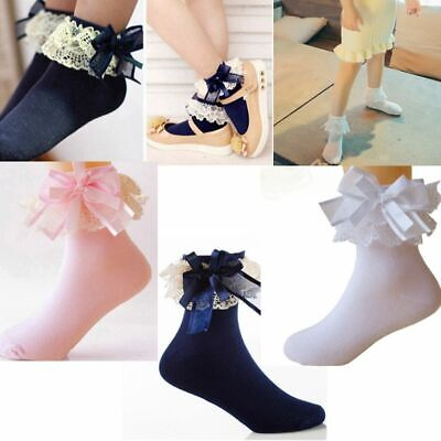 Cute Ankle Baby Girls Sweet Big Bow Cotton Lace Frilly Ruffle Princess Socks