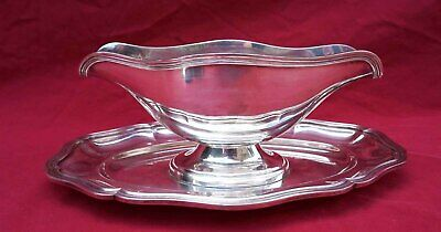 French Large Gravy Sauce Boat Silverplate Louis XV style Filet no Christofle 190