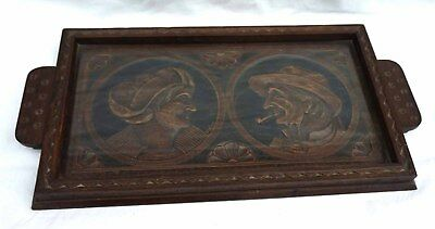 QUIMPER Couple Bretons Carved Wood Tray Signed Piniou Vintage