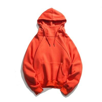 Mens Plain Hooded Tops Loose Fit Winter Thick Brushed Hoodies Fashion Sweatshirt