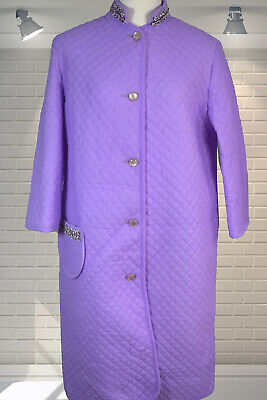 Vintage 1960s 1970s Purple Quilted Stiff Nylon Housecoat Dressing Gown Robe 40""