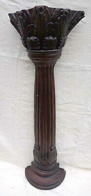 Acanthus Leaves Carved Wood Pilaster Fluted Half Column Corbel 19th C
