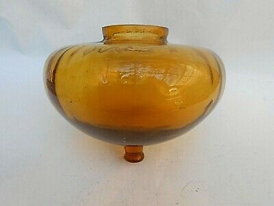 Large Antique ** AMBER ** Glass Oil Lamp Fount