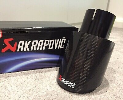 "GLOSS BLACK CARBON FIBRE AKRAPOVIC EXHAUST TIPS 4"" UNIVERSAL TAILPIPE-335i R32"