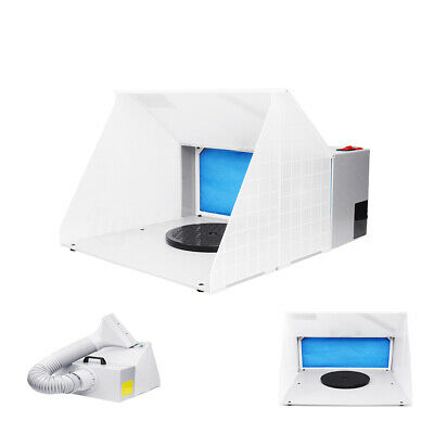 Portable Hobby Airbrush Paint Spray Booth Exhaust Filter Extractor LED+Long