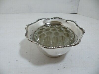 Vintage Silver Plated Rose Bowl with Glass Frog