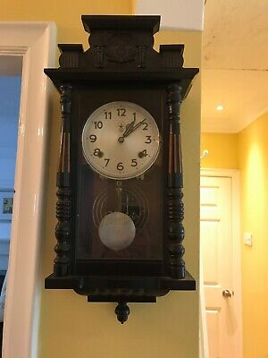 Wooden Wall Clock 8 Day Movement Carved Mahogany Vgc Working