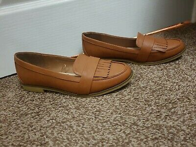 Ladies Size 8 9 42 Wide Fit Tan Leather Loafer Shoes Flats Ballerina