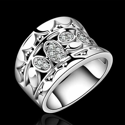 Setting Engagement Solid Silver Plated Natural Crystal Cubic Zirconia Rings
