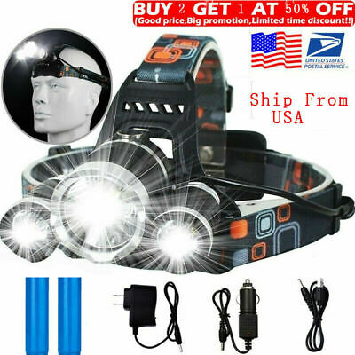 100000LM T6 LED Headlight Headlamp Head Torch 18650 Flashlight Work Light Lamp