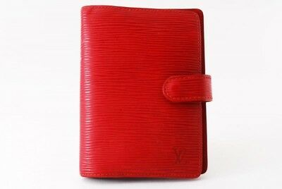 Authentic Louis Vuitton Epi Agenda PM Planner Cover Red  TA6061-%