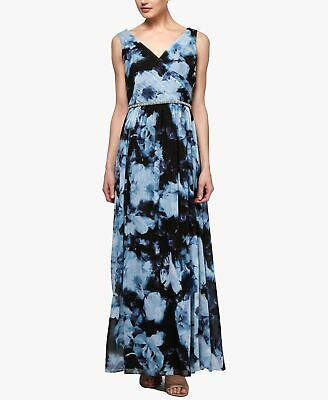 S.L. Fashions Womens Gown Blue Size 6 Floral Print Embellished Chiffon $119 #083