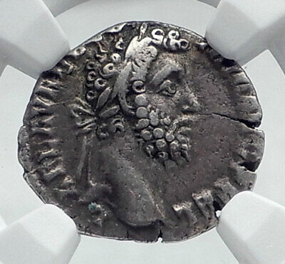 COMMODUS Authentic Ancient 192AD Rome Silver Roman Coin VICTORY NGC i81385
