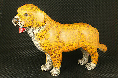 Big asian old cloisonne hand painting Dog statue netsuke table decoration