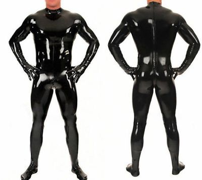 Handsome Latex Catsuit Cool Black Tight Rubber Bodysuit Overall Uniform S-XXL