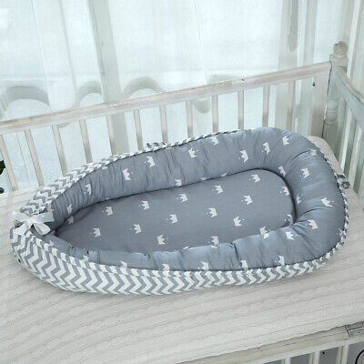 Sleeping Baby Bed 0-3 Years Olds Portable Infant Lounger Nest Crown_Blue