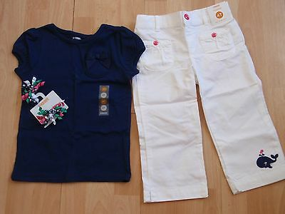 Nwt Girls Gymboree Sz 4 Shirt, Cropped Pants, Hair Clips Stripes & Anchor