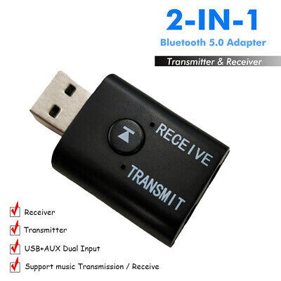 1Pc-USB Bluetooth 5.0 Wireless Receiver Transmitter AUX 3.5mm Jack For TV PC Car