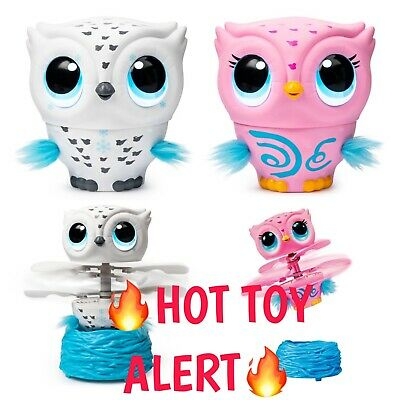 LOT OF 2: WHITE & PINK Owleez Flying Baby Owl Interactive Toy Drone Sounds NWT