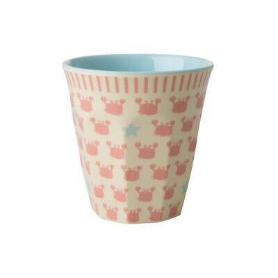 RICE Kinderbecher aus Melamin, Crab & Starfish Print in Rosa KICUP-GSEA,